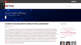 Literacy Success with Storia in the Classroom—Teach With INFOhio Blog Post