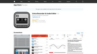 Voice Recorder and Audio Editor (App for iPhone and iPads)
