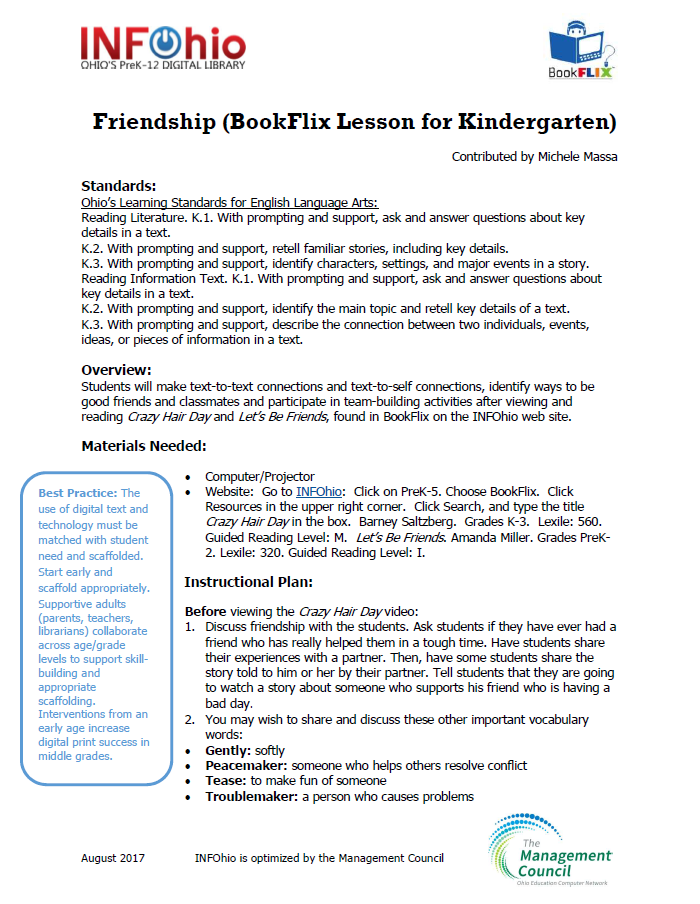 Friendship [BookFlix Lesson for Kindergarten]