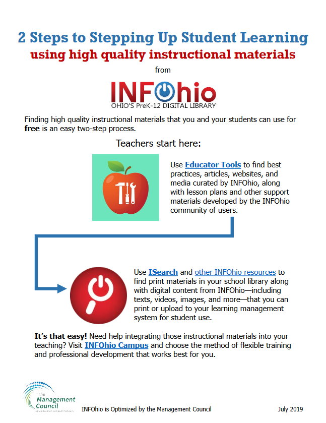 2 Steps to Stepping Up Student Learning Using Instructional Materials from INFOhio