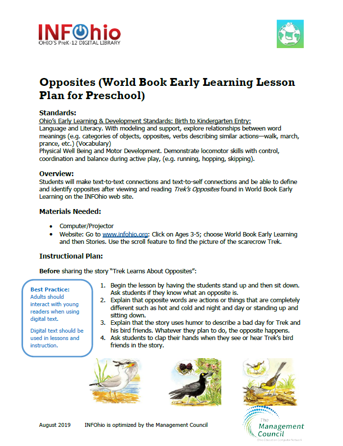 Opposites (World Book Early Learning Lesson Plan for Preschool)