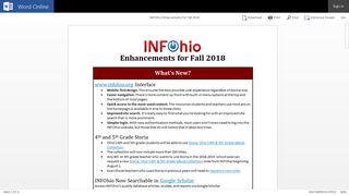INFOhio Enhancements for Fall 2018