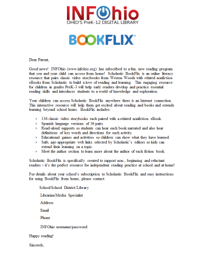 BookFlix Parent Letter (English)
