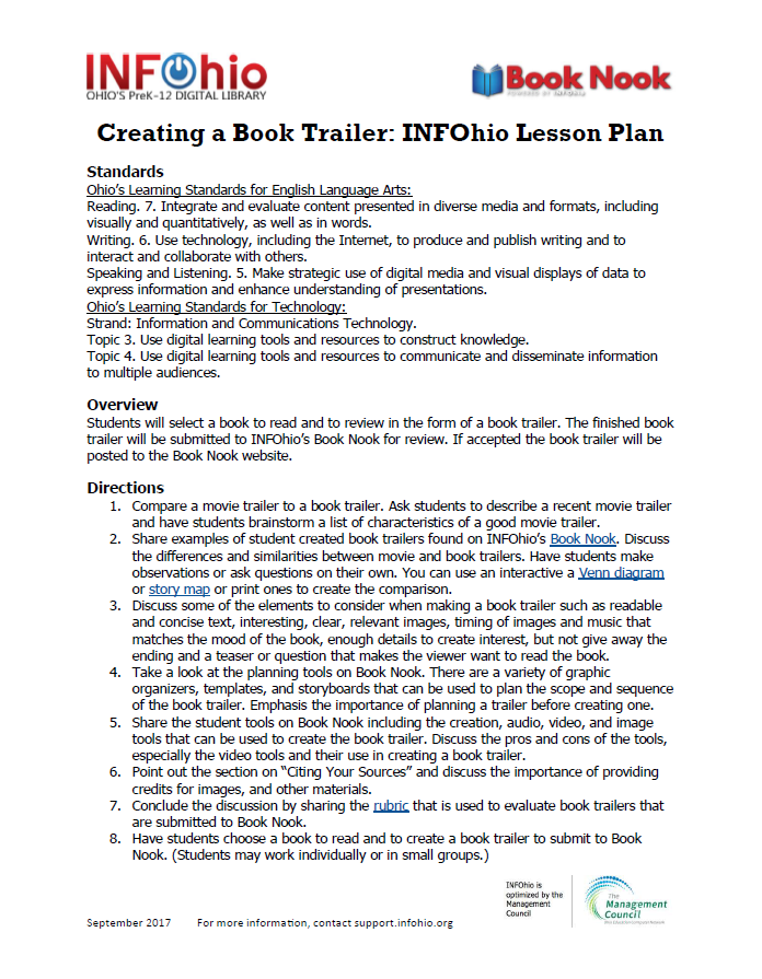 Creating a Book Trailer: INFOhio Lesson Plan
