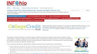 College Credit Plus - Resources for Student Research (INFOhio Guides)