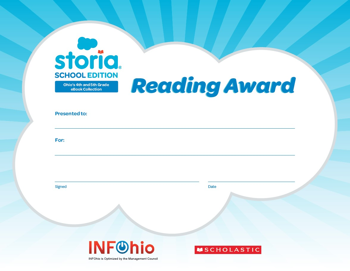 Storia Reading Award Certificate
